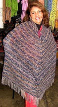 Ethnic poncho from Peru, outerwear - $89.00