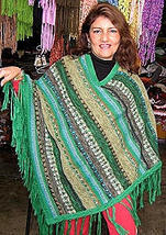Green Poncho Cape, natural Alpacawool,Outerwear  - $108.00