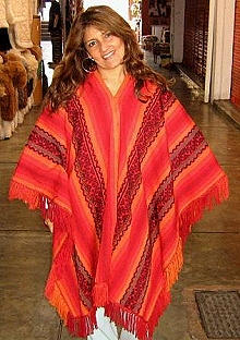 Ethnical red peruvian Poncho, Cape Alpaca Wool
