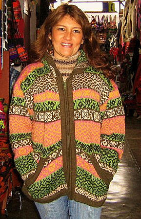 Hooded cardigan, jacked is knitted of Alpaca wool