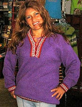 Lila folklorical sweater,pure Alpacawool,V-neck - $86.00