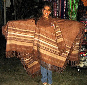 Brown poncho, cape with a scarf, pure Alpaca Wool