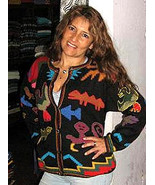 knitted cardigan, colorful, amazing designs Alpaca wool - $165.00