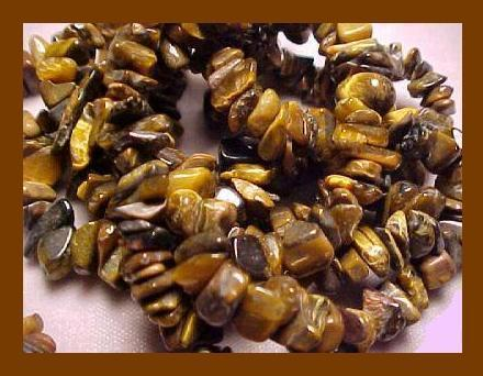 "Genuine TIGERS EYE Polished Gemstone 36"" Strand Necklace"