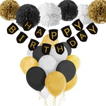 Happy Birthday Banner Party Black Gold Balloons Adult Birthday Color Dec... - $16.59