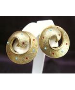 Golden Pinwheel Rhinestone Earrings Red & Turquoise Stones - $24.50