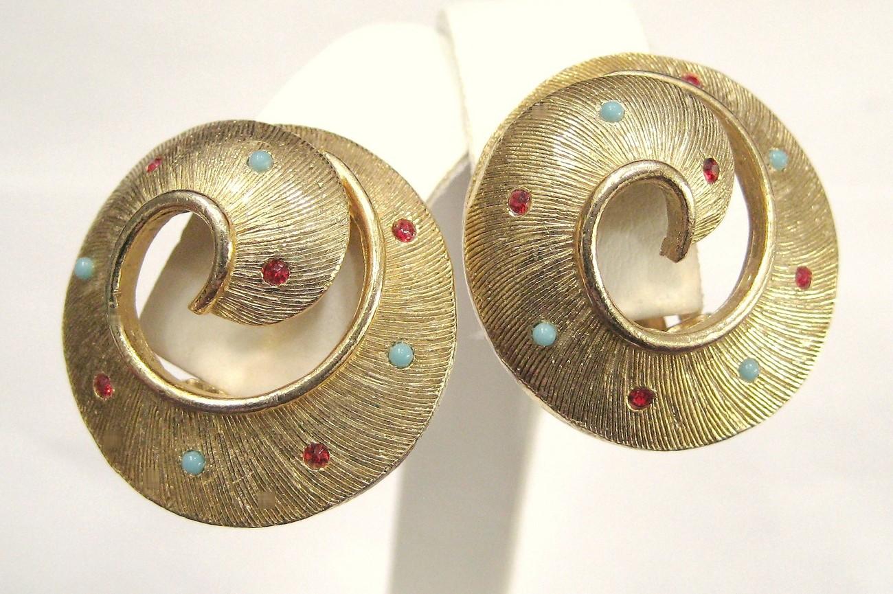 Golden Pinwheel Rhinestone Earrings Red & Turquoise Stones