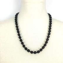 SQUARE glass seed bead vintage necklace - jet black elegant lagenlook LB... - $19.60