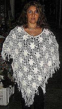 White crocheded Poncho, Alpacawool outerwear - $78.00