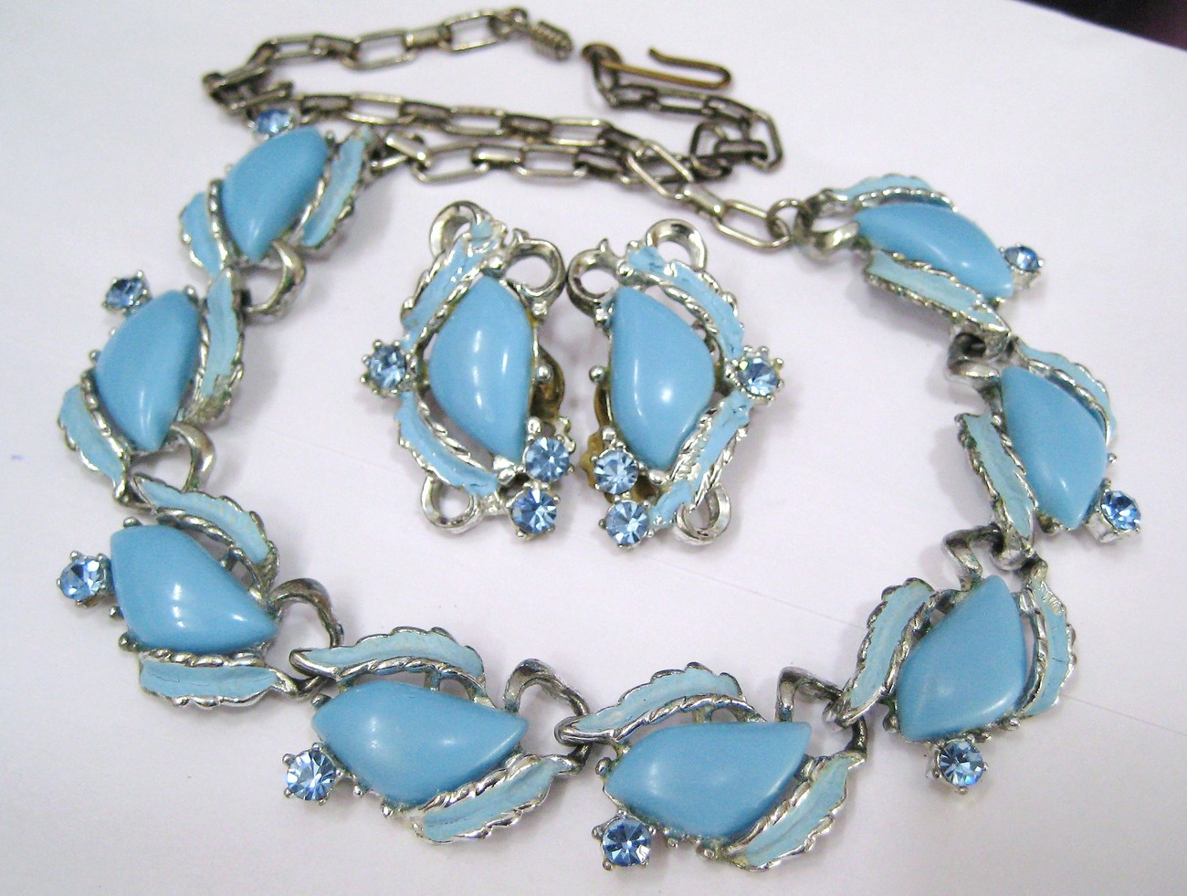 Pretty Blue Thermoplastic, Enamel & Rhinestone Necklace & Earrings Set