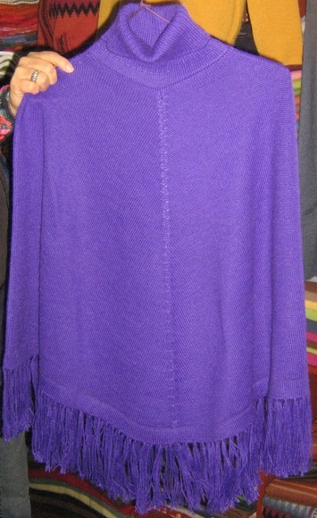Purple turtleneck Poncho made of Alpaca wool, outerwear