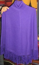 Purple turtleneck Poncho made of Alpaca wool, outerwear  - $115.00
