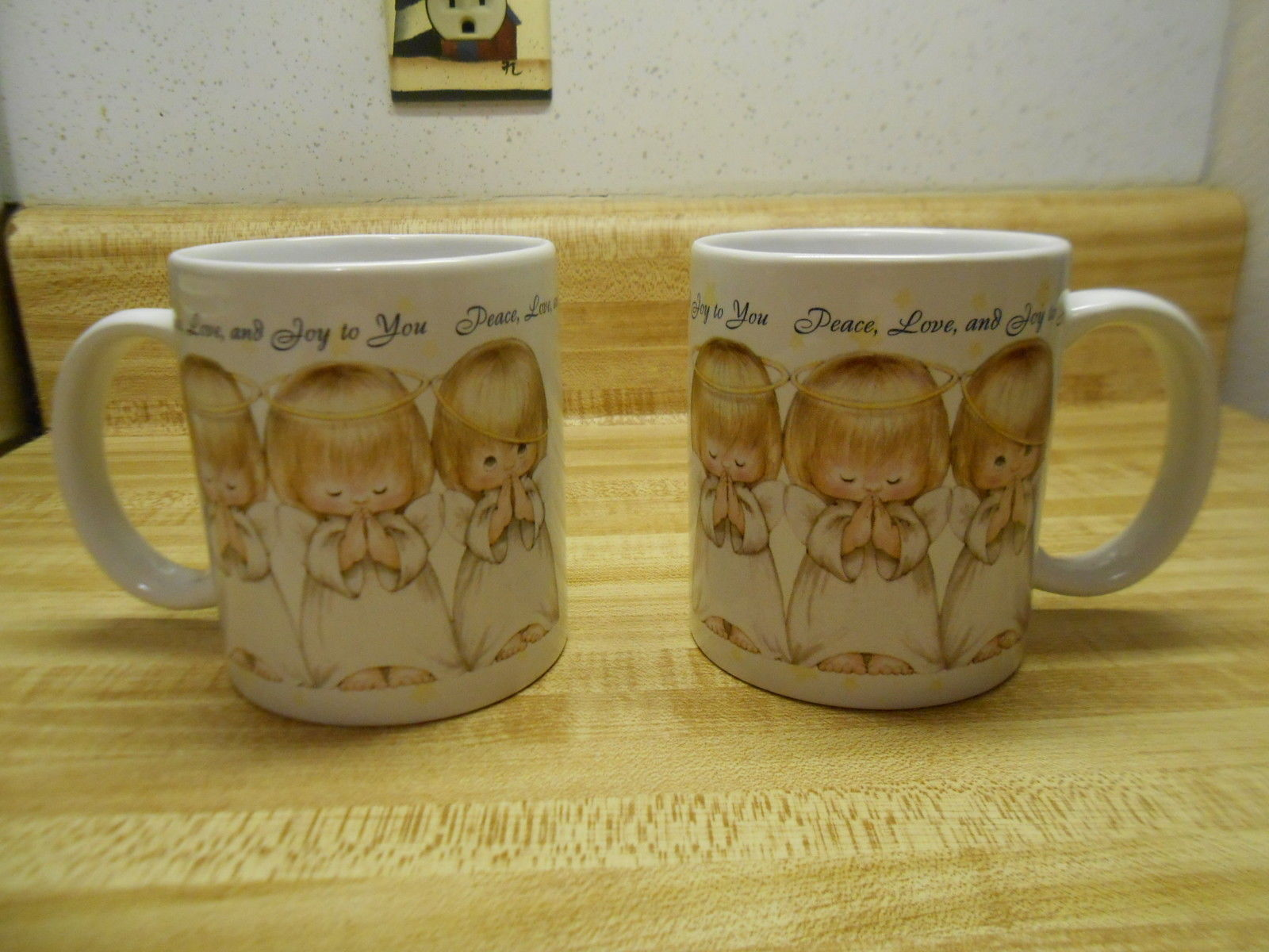 Primary image for hallmark mugs with praying angels peace love and joy to you, with fallen halo