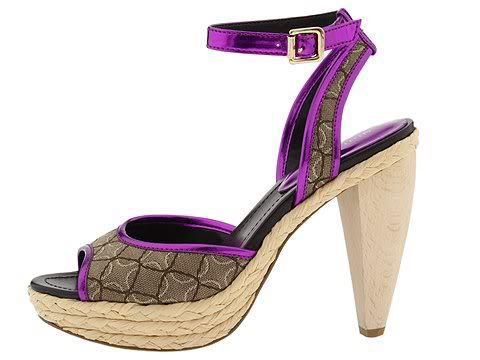 Nine West 8.5 Ciscoann Platform Shoes Dress Heels Chunky Pink Purple Tan Womens