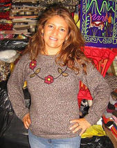 Sweater, jumper with round neck,pure Alpacawool - $78.00