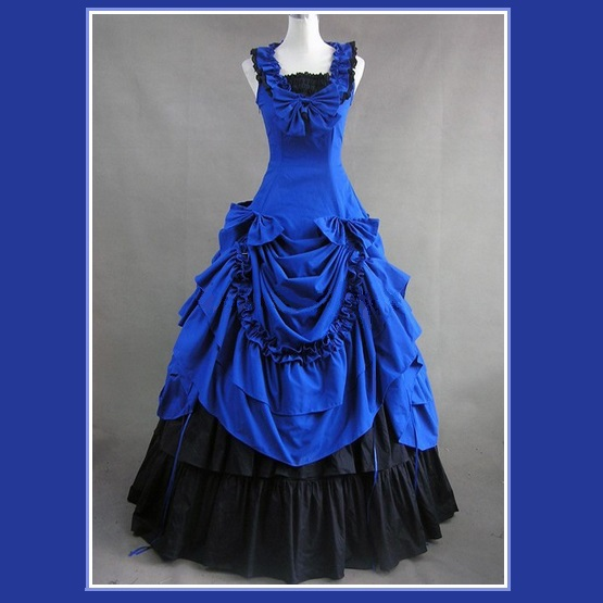 Romantic Victorian 18th Century Blue Dinner Party or Evening Prom Gown