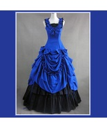 Romantic Victorian 18th Century Blue Dinner Party or Evening Prom Gown - $228.95