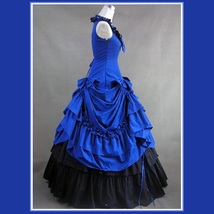 Romantic Victorian 18th Century Blue Dinner Party or Evening Prom Gown image 2