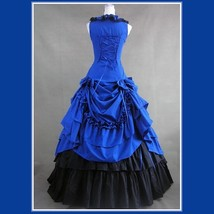 Romantic Victorian 18th Century Blue Dinner Party or Evening Prom Gown image 3