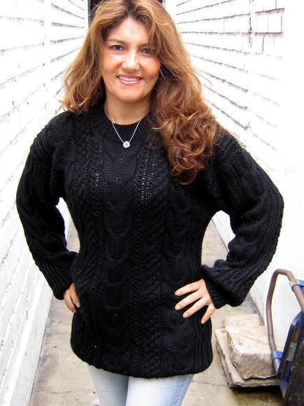 Black Sweater, cable pattern jumper, Alpaca wool