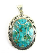 Contemporary Inlaid Turquoise Large Oval Hand T... - $137.03