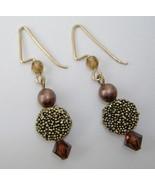 Bronze Beaded Earrings Handcrafted Dangle Gold Tone Metal Textured Pierc... - $25.00