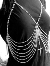 Body Chain with Cross Armor Harness Silver Desi... - $23.99