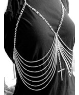 Body Chain with Cross Armor Harness Silver Designer Boho Statement Avant... - $23.99