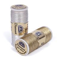 Gold & Black (D140) DMC Diamant Metallic Needlework Thread 38.2 yd spool  - $2.50
