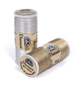Gold & Black (D140) DMC Diamant Metallic Needlework Thread 38.2 yd spool  - $2.50