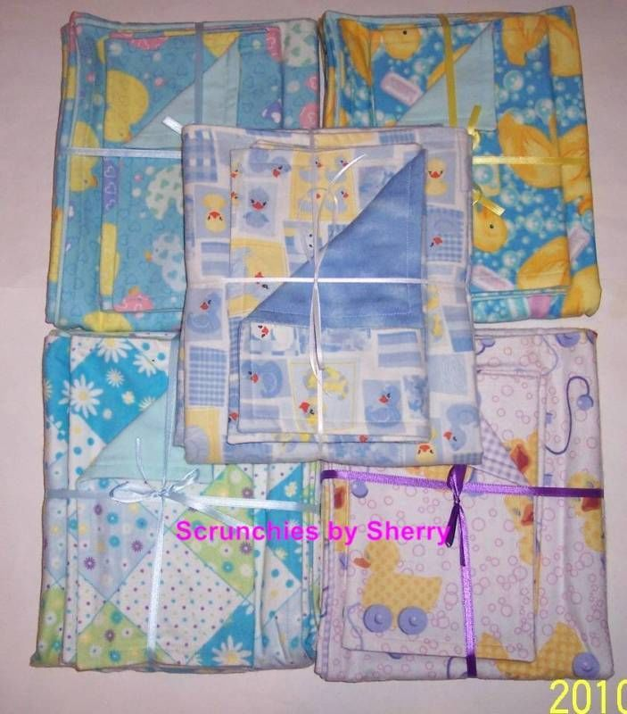 Primary image for Blanket & 2 Burp Cloth Set Flannel Ducks Animals Patchwork Prints Baby Shower