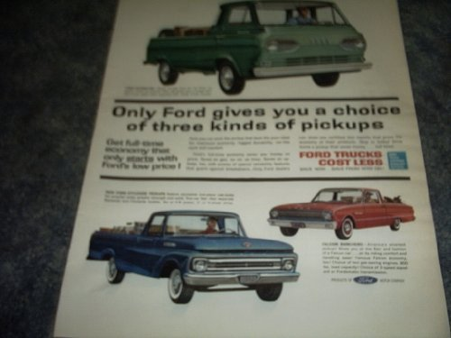 Primary image for 1963 Ford Trucks Ad 3 Kinds of Pickups [Loose Leaf] by FORD PICKUPS