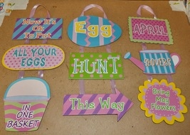 "Easter Hanging Signs 3ea Paper Board 14""x 7"" Mix Lot Egg Hunt April Show... - $12.49"
