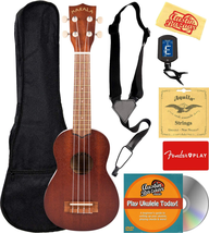 Kala MK-S Makala Soprano Ukulele Bundle with Gig Bag, Tuner, Strap, Aqui... - $93.49