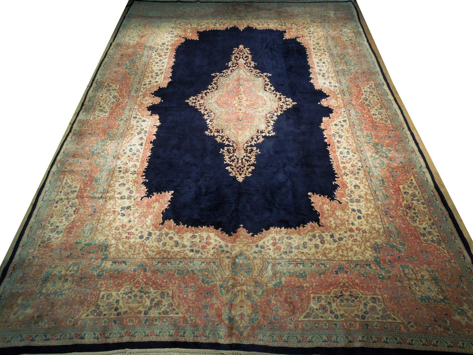 11x17 Navy Blue Handmade Open Field Durable Fine Original Persian Rug