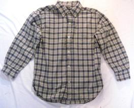 Boy Size  8 Old Navy Long Sleeve Plaid Shirt Button Down Cotton Gold Black Plaid - $8.81