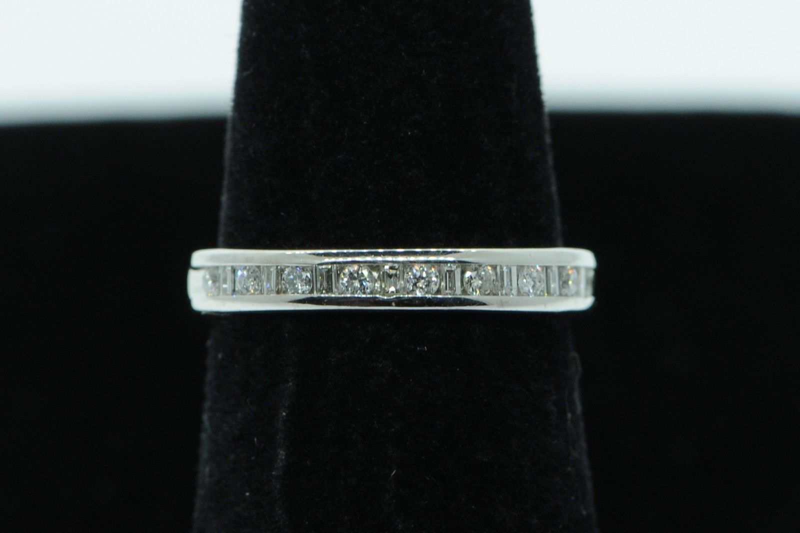 Primary image for Art Nouveau Style 14K White Gold 17 Channel Set Diamond Band (Size 4 5/8)