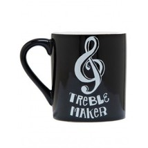 Hatley Funny Ceramic Coffee Mug TREBLE MAKER 14 Ounce Music Clef Trouble - £15.33 GBP