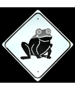 "MINI MINIATURE CUTEZ FROG SIGN METAL 8""  - $5.00"