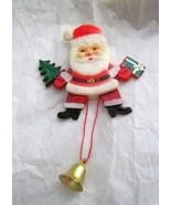 "VTG Dancing Santa moving hard plastic 4"" pin brooch Hong Kong EC articul... - $21.87"