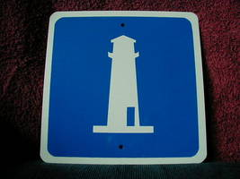 "Mini Miniature Lighthouse Traffic Signs Metal 8"" - $5.00"