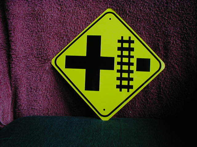 MINI MINIATURE R. R. ROAD TRAFFIC SIGNS. METAL 8""