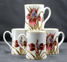 Fitz & Floyd Iris Burgundy * 4 MUGS / CUPS * Excellent! - $34.64