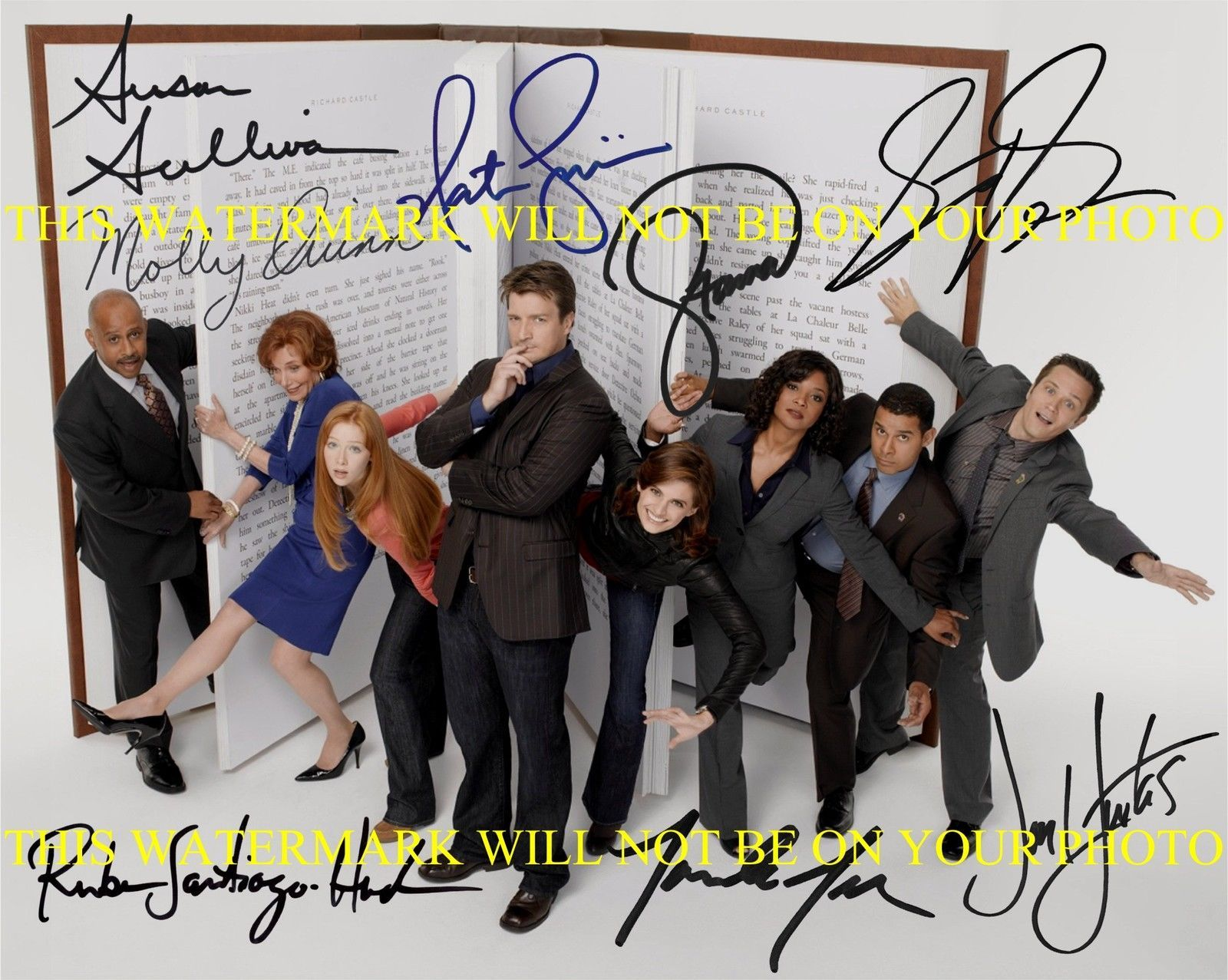 Primary image for CASTLE FULL CAST SIGNED AUTOGRAM 8x10 RP PHOTO BY 8 NATHAN FILLION STANA KATIC +