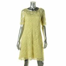 2004-1 Lauren Ralph Lauren Womens Crochet Elbow Sleeves Dress Yellow Sma... - $40.72