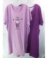 Dreams and Co 2 Pack Sleep Shirts Light and Dark Purple with Dots Sleeps... - $41.35