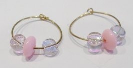handmade gold hoop earrings with pink beads - $9.00