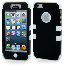 Hard Case with Silicone Skin Dual Layer for iPhone 5 & 5S (Black/White) - $10.97