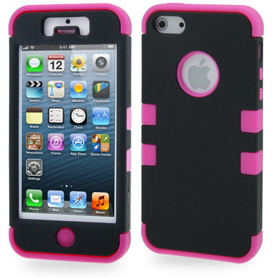 Primary image for Double layer hard protective case for iphone 5/5S Black/Magneta