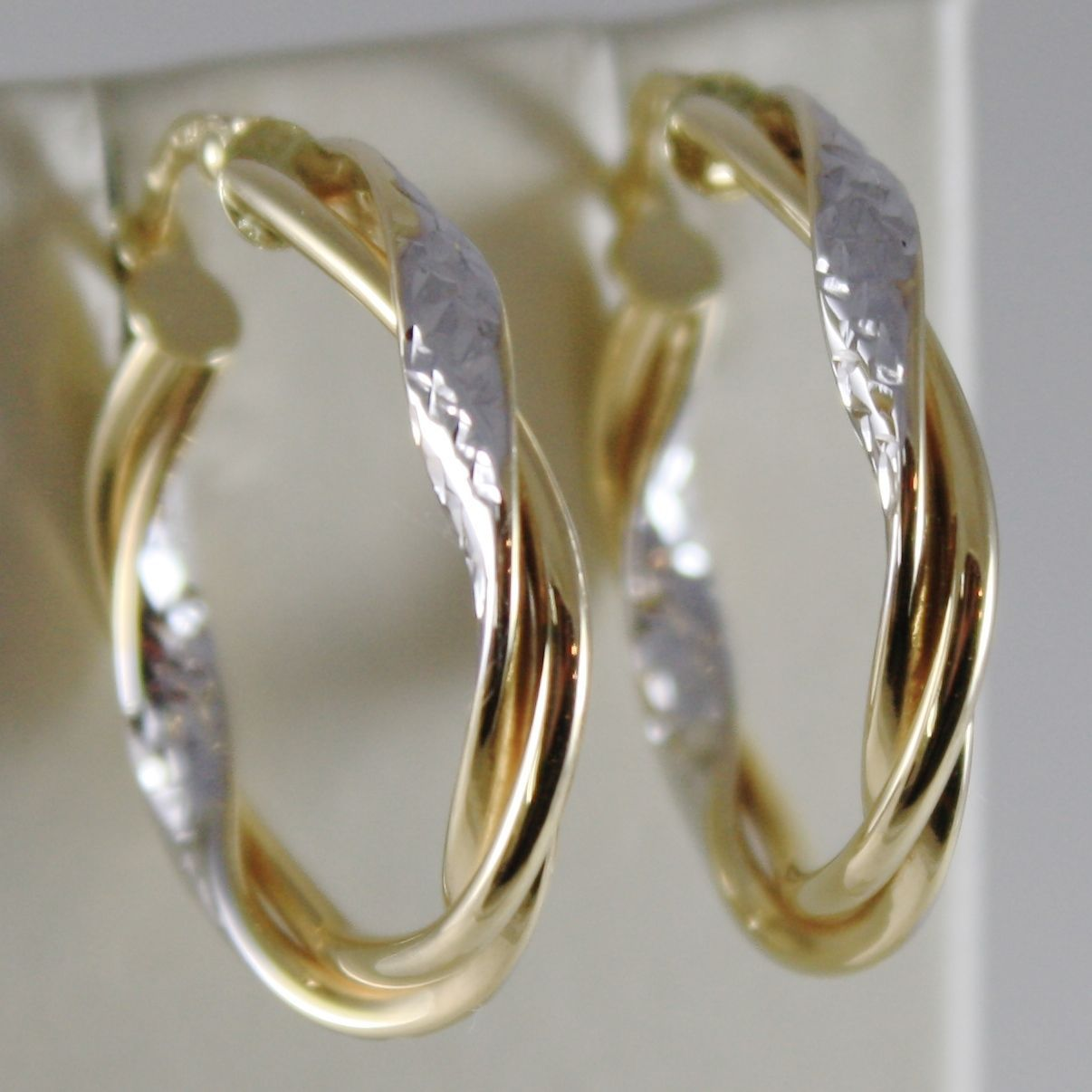 18K YELLOW WHITE GOLD TWISTED EARRINGS WORKED HOOPS HOOP 25 MM MADE IN ITALY